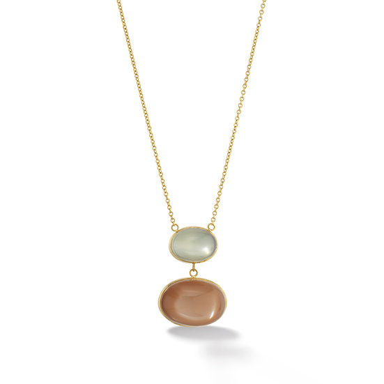 18k Yellow Gold Green & Honey Moonstone Bezel Cabochon Necklace