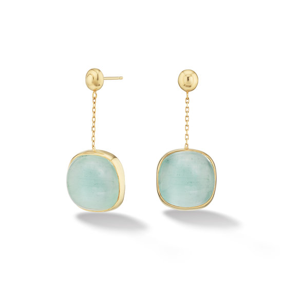 18k Yellow Gold Aquamarine Dangle Cabochon Earrings