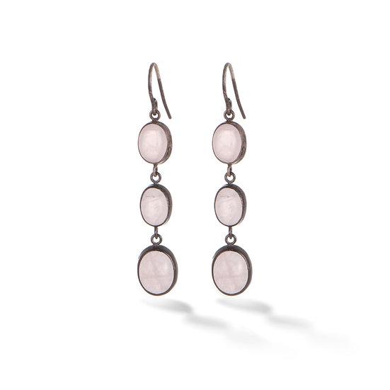 Oxidized Sterling Silver Rose Quartz Oval Dangle Earrings