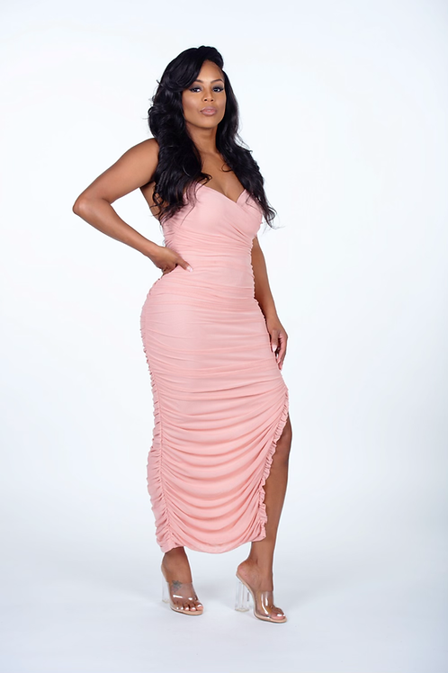 So Into You Ruched Mesh Dress