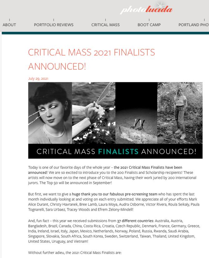 Photo lucida Critical Mass2021 finalist