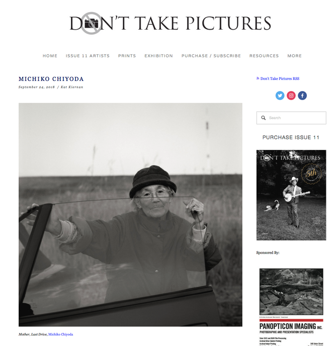 """Don't Take Pictures"" websiteに掲載"