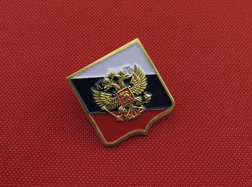 Coat of arms of Russia on the background of the Russian flag