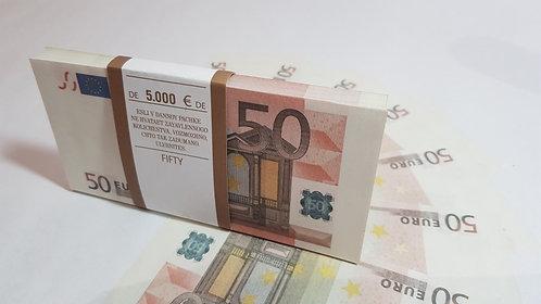 50 fifty Euro Souvenir prop money novelty fake euros, play money, full prints.