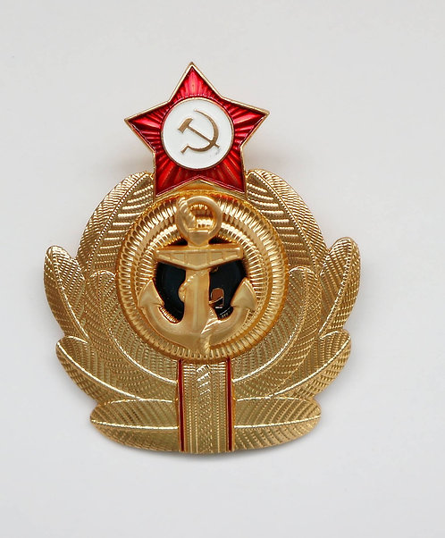 RUSSIAN-ARMY-MILITARY-BADGE-OF-NAVY-OFFICER-USSR-SOVIET-COCKADE-HAT-PIN-CAP  RU