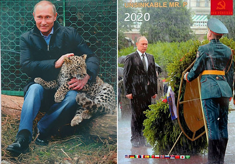 POSTER VLADIMIR PUTIN LAMINATED TWO SIDED WITH A LEOPARD AND UNSINKABLE PUTIN