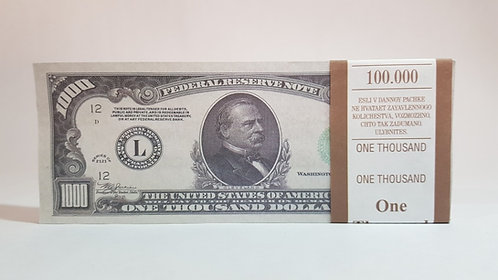 1000 $ dollars USD USA Pack of notes paper money souvenir