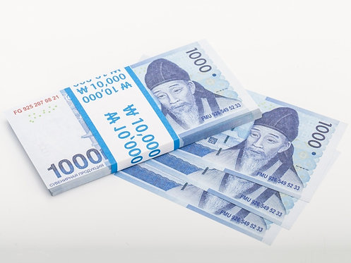 pack 1000 South Korean won bilateral Pack of notes paper money souvenir