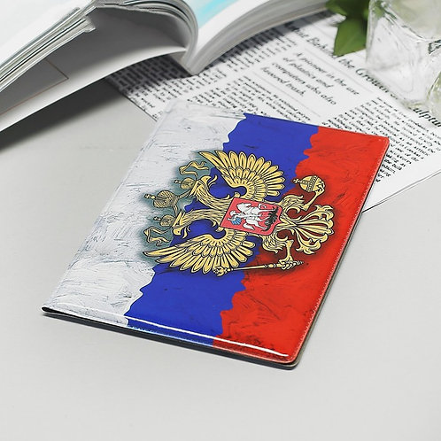 Coat of Arms of Russia passport cover, Russian tricolor premium