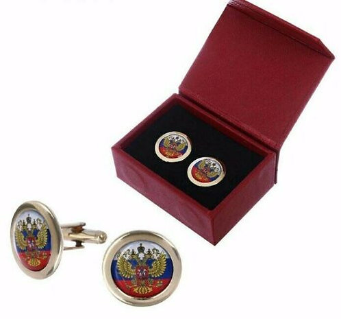 """Men's cufflinks """"Coat of arms of Russia"""" flag symbol White blue red"""
