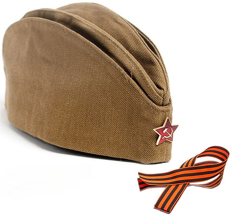PILOT SOVIET MILITARY SOLDIER WITH RED STAR USSR CAP + ST. GEORGE RIBBON GIFT