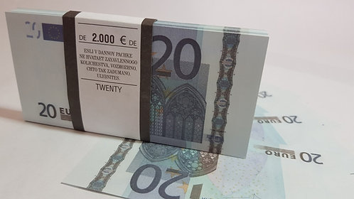 20 Euro Souvenir prop money novelty fake euros, play money, full prints.