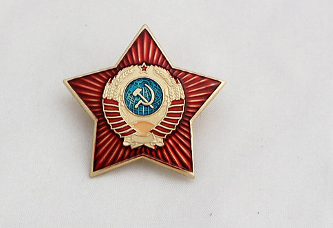 Badge Soviet enamel star USSR Arms for police hats 1940 Милиция знак 1940-1950г