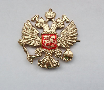 Cockade's Coat of Arms of Russia Double Headed Eagle Military Sign On Cap Badge