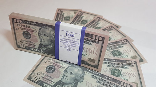 10 $ dollars USD USA Pack of notes paper money souvenir