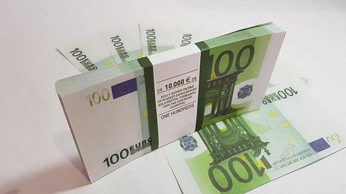 100 Euro Souvenir prop money novelty fake euros, play money, full prints.