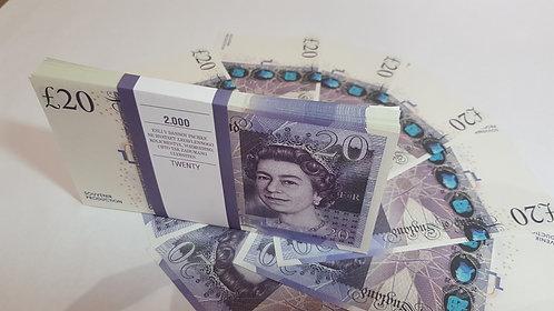 20 £ 20 UK POUNDS PROF PACK OF NOTES PAPER MONEY SOUVENIR GBP