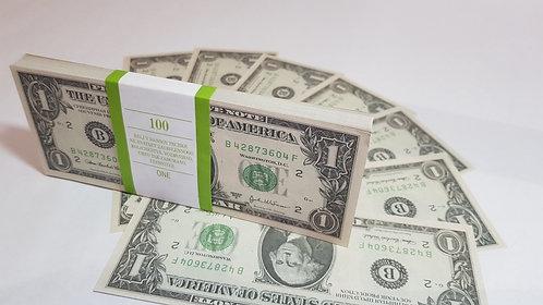 1 ein $ bilaterale Dollar USD USA Packung mit Banknoten Papiergeld Souvenir1