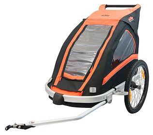 Noleggio carrellini per bambino da attaccare alla E-Bike. Noleggio carrellini per biciclette a Predazzo, Val di Fiemme
