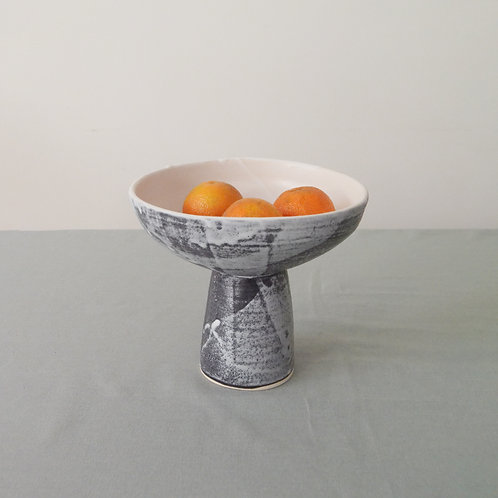 Black and White pedestal bowl