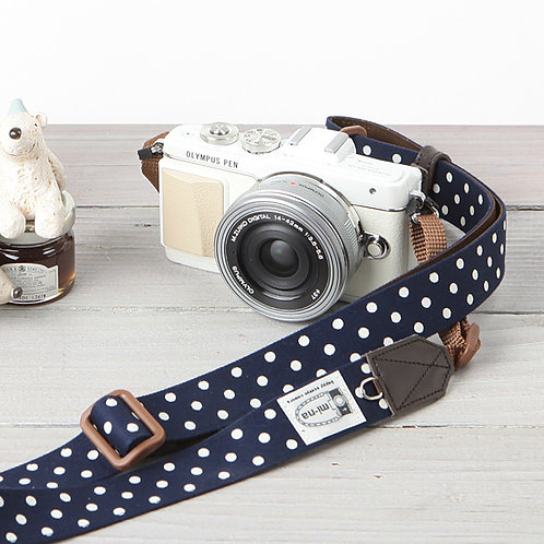 Camera Strap/Navy blue dot