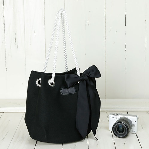 Drawstring Shoulder Camera Bag /Black