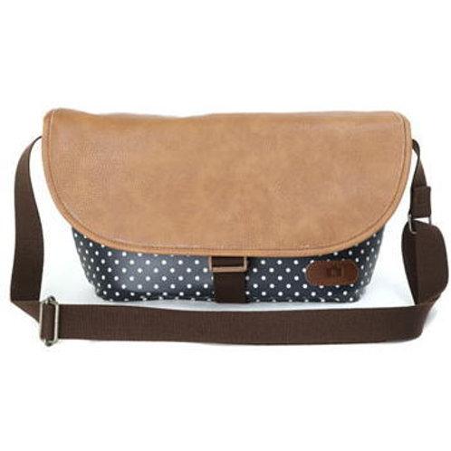 Simple shoulder bag/Navy blue dot