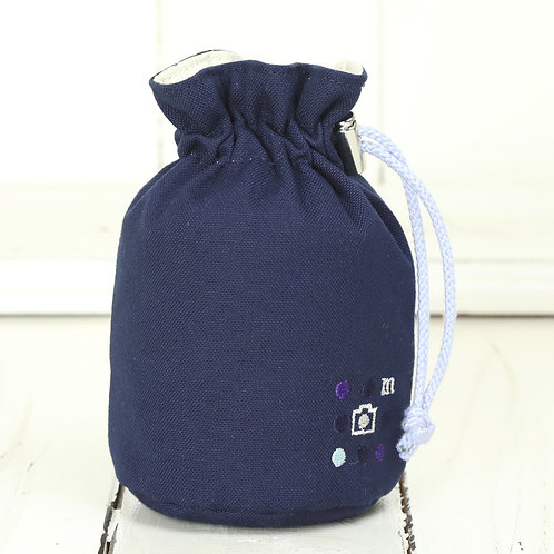 Lens pouch /S size/Needlework navy blue