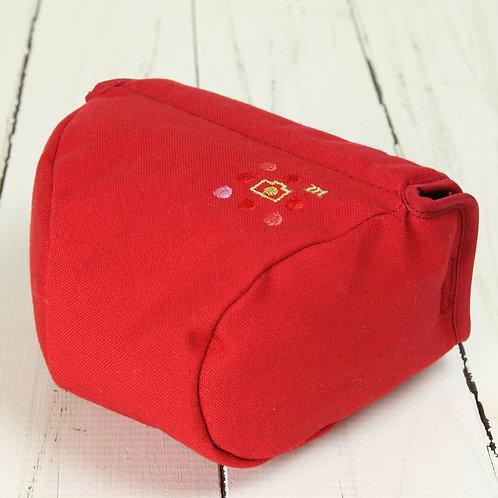 Camera Case/ M size/ Needlework red