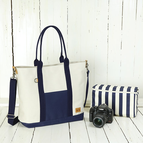 Tote bag /Canvas white & navy blue