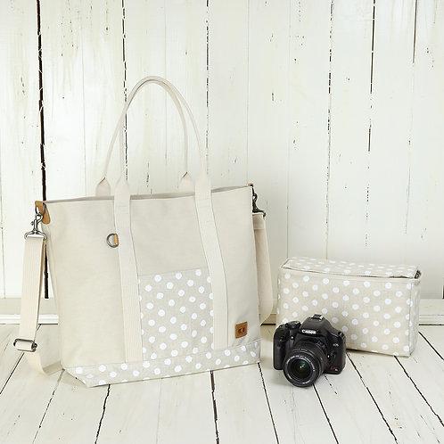 Tote bag /Canvas white & white dot