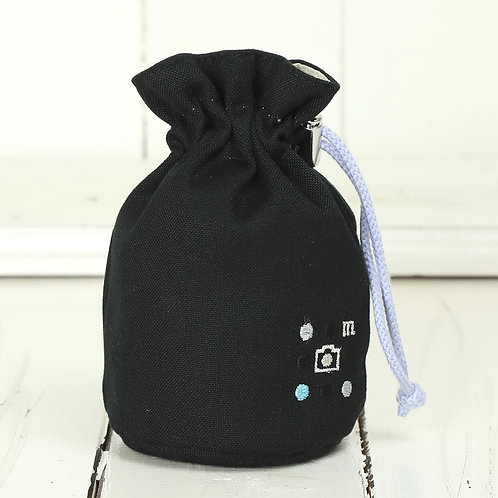 Lens pouch /S size/Needlework black