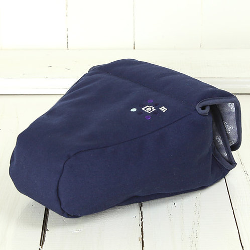 Camera Case/ XL size/ Needlework navy blue