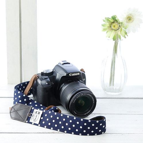 Camera Strap/Navy blue dot