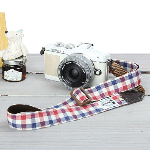 Camera Strap/ Blue red plaid
