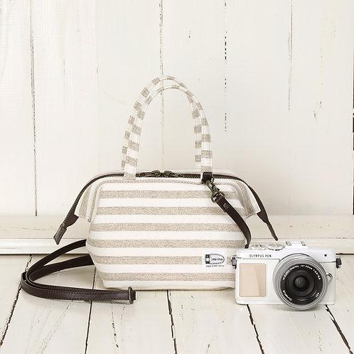 2 Way Mini Boston Camera Bag /Vanilla stripe