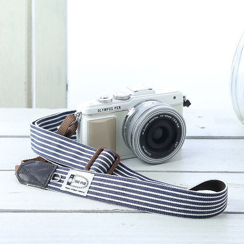 Camera Strap/ Indigo stripe
