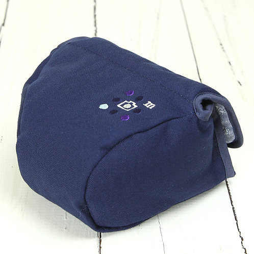 Camera Case/ M size/ Needlework navy blue