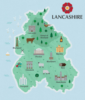 Illustrated Map of Lancashire