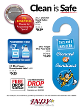 Clean is Safe buttons, decals, door hangers