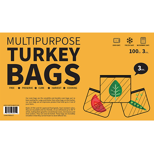 "3-Gallon 100-Pack - All Purpose Bags For Oven, Freezer & Refrigerator 18""x20"""
