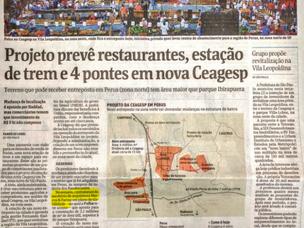 Projeto prevê restaurantes, estação de trem e 4 pontes em nova Ceagesp
