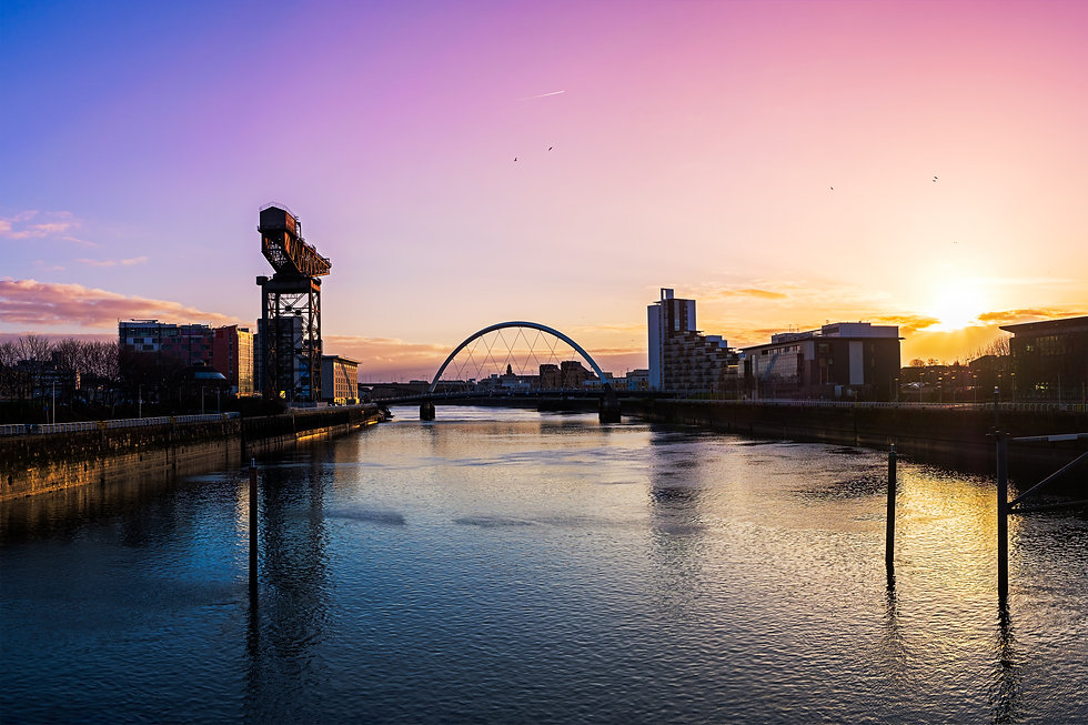 View of River Clyde at sunrise, Glasgow,