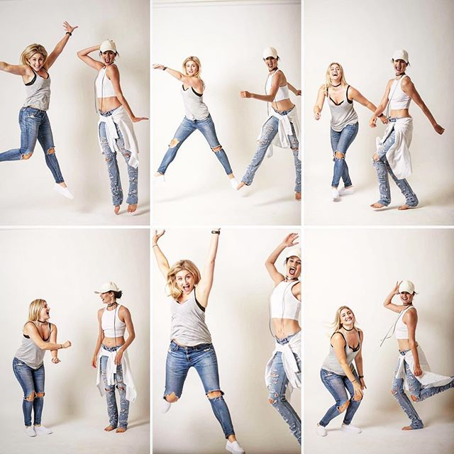 Seriously good to be back in the studio with this girl!!! _bronjol #goofingaround #jump #pose #laugh