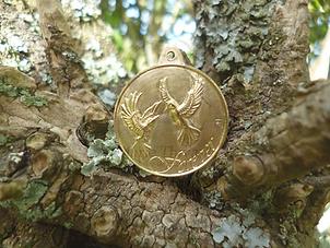 oiseau médaille médaillon laiton