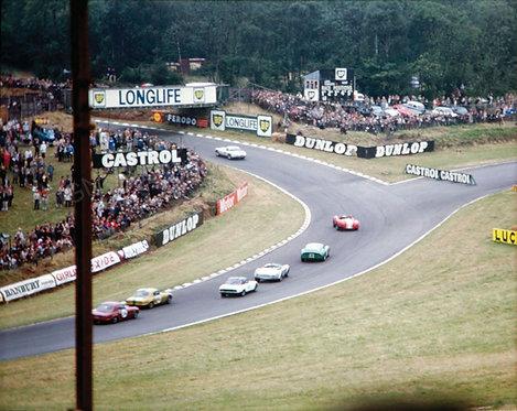 """074-Brands Hatch, Corner #4, GP-GT Racing, 1964 18""""x27"""""""