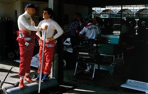 157-Niki Lauda & Alain Prost, McLaren TAG, Brazil F1 1984