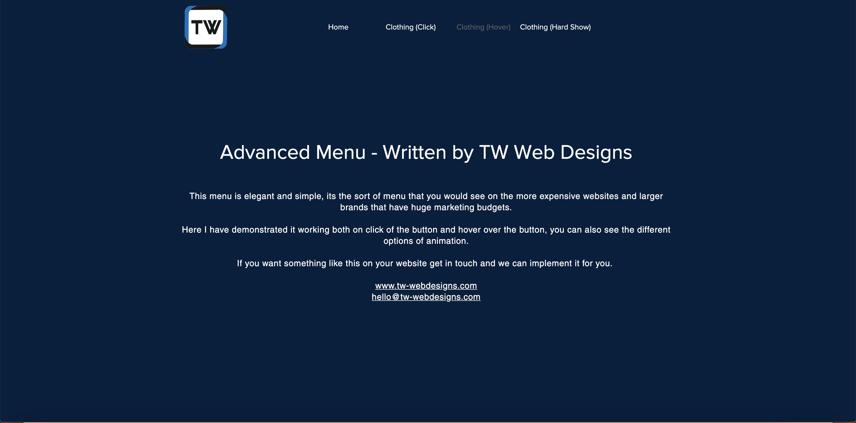 Wix Advanced Menu | TW Web Designs