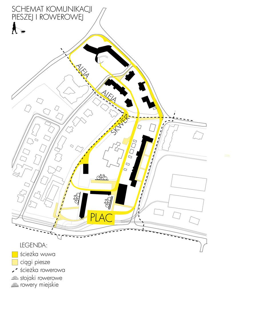 Schemat komunikacji pieszej i rowerowej