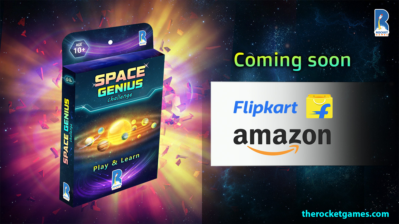 Space Genius Card Game Launch Poster